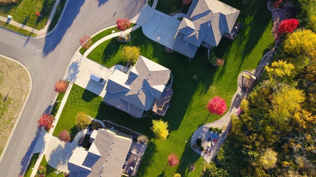 Suburban backyards aerial view